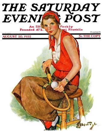 """""""Woman Tennis Player,"""" Saturday Evening Post Cover, August 20, 1932"""