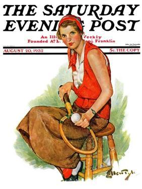"""""""Woman Tennis Player,"""" Saturday Evening Post Cover, August 20, 1932 by Ellen Pyle"""