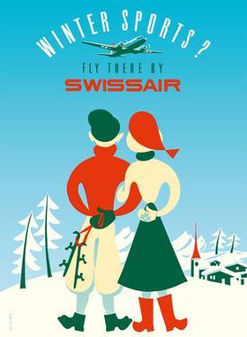Winter Sports - Fly there by Swissair by Elli Sieber