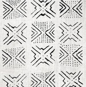 Mudcloth White V by Ellie Roberts