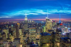 Famous Skyscrapers of New York at Night by Elnur Amikishiyev