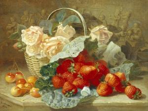 Still Life of Summer Fruit and Peach Roses by Eloise Harriet Stannard