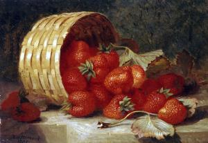 Strawberries in a Wicker Basket on a Ledge, 1895 by Eloise Harriet Stannard