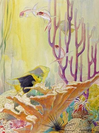 A Painting of West Indies Coral Reef Sea Life by Else Bostelmann