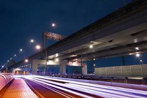 City Night Scene with Light Trails of Cars on Road in Taipei, Taiwan. by elwynn
