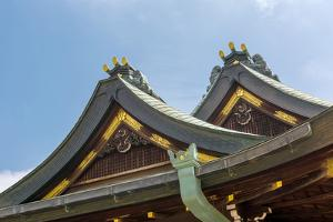 Japanese Style Roof at Osaka Tenmangu, Osaka, Japan, Asia. by elwynn