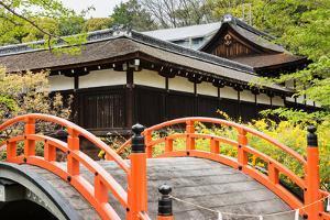 Orange Arched Bridge of Japanese Temple Garden in Shimogamo-Jinja, Kyoto, Japan by elwynn