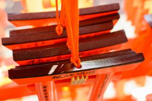 Yoshino, JAPAN - April 27Th : Votive Tablets Made of the Shape of Orange Torii in Fushimi Inari Tai by elwynn