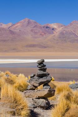 Bolivia, Antiplano - Canapa Lake - Cairn (Quechuan Shrine to the Indigenous Inca Goddess Pachamama) by Elzbieta Sekowska