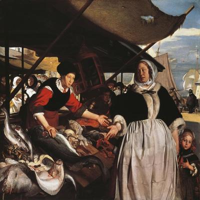 Adriana Van Heusden and Daughter at New Fishmarket in Amsterdam, Circa 1662