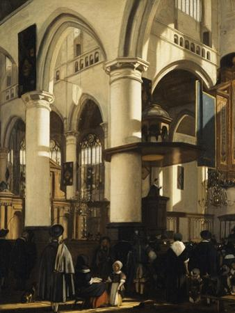 The Old Church, Delft, with Churchgoers Listening to a Sermon, 1669