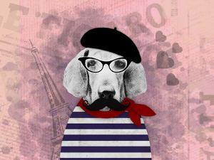 Doggy Pooh Love Paris by Emanuela Carratoni