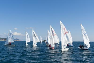 Sailboats Participating in Regatta, Ibiza, Balearic Islands, Spain, Mediterranean, Europe
