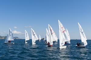 Sailboats Participating in Regatta, Ibiza, Balearic Islands, Spain, Mediterranean, Europe by Emanuele Ciccomartino
