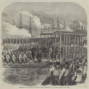 Embarkation of the Sultan at Clarence-Yard, Portsmouth, for the Naval Review