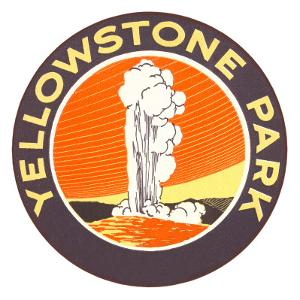 Emblem for Yellowstone National Park with Geyser
