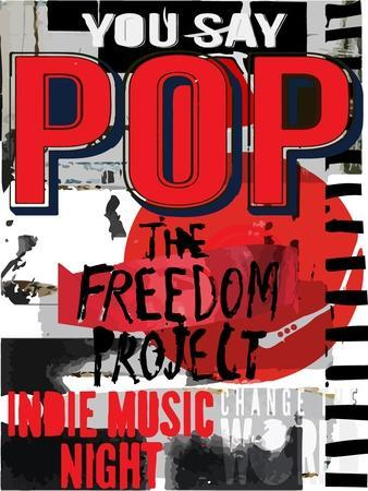 Pop Music, Poster Background Template. Vector Graphic Design.