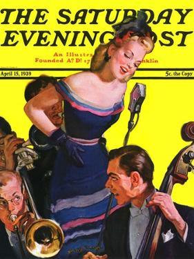 """""""Big Band and Songstress,"""" Saturday Evening Post Cover, April 15, 1939 by Emery Clarke"""