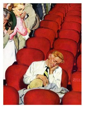 """""""Man Asleep in Theater,"""" July 27, 1940 by Emery Clarke"""