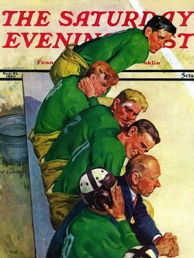 """""""Team on Bench,"""" Saturday Evening Post Cover, November 23, 1940 by Emery Clarke"""