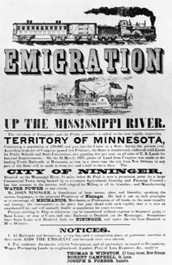 Emigration Up the Mississippi River Advertisement