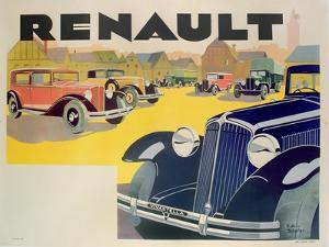 Advertisement for Renault Motor Cars, c.1920 by Emile Andre Schefer