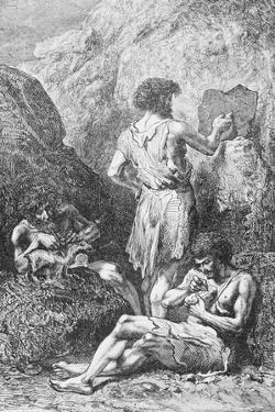 Prehistoric Men Depicting Deer by Emile Antoine Bayard