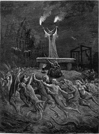 Horned Devil Presides Over the Sabbat by Emile Bayard