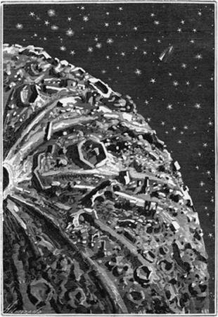 Illustration of around the Moon by Emile Bayard
