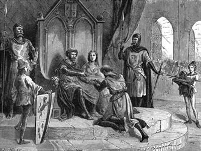 Soldier Declares Feudal Homage to the King by Emile Bayard