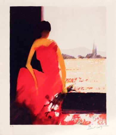 Femme à la robe rouge by Emile Bellet
