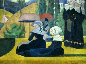 Breton Women with Parasols by Emile Bernard