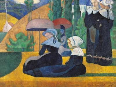 Brittany Women with Umbrellas