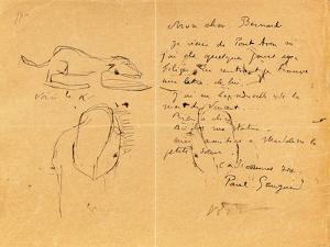 Letter to Emile Bernard with Three Ink Sketches, Noting the Death of 'Vincent', Tahiti, 1890S by Emile Bernard