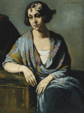 Portrait of a Young Woman Leaning on Her Elbow; Portrait De Jeune Fille Accoudee, 1928 by Emile Bernard