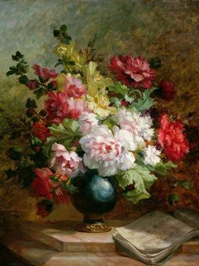 Still Life with Flowers and Sheet Music by Emile Henri Brunner-lacoste