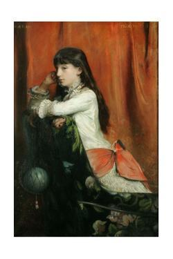 Lia Levy,the painter's daughter aged 12. Canvas. by Emile Levy