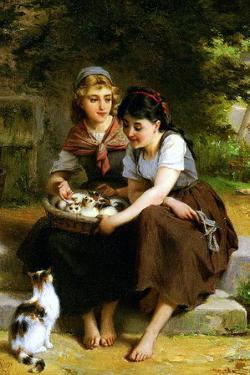 Deux Fillies Avec Un Panier De Chatons by Emile Munier