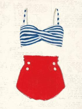Retro Swimwear IV Newsprint by Emily Adams