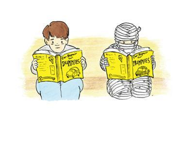 A person and a mummy reading self help books. - Cartoon