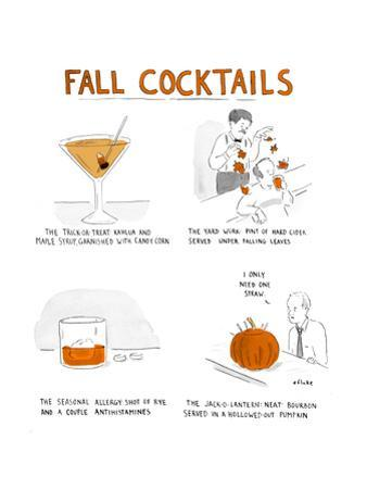 Fall Cocktails - Cartoon by Emily Flake