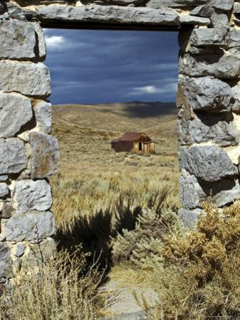 1880's Deserted Home Through Stone Warehouse Door Frame, Bodie State Historic Park