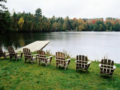 Adirondack Chairs in Row by Lake, Northeast Kingdom