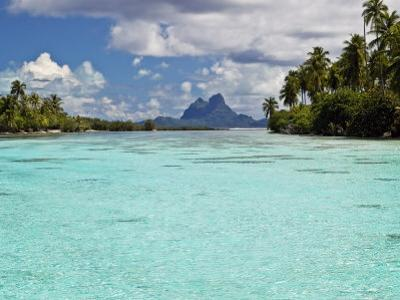 Bora Bora at End of Channel Between Two Motus in Taha'a Lagoon
