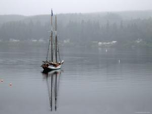 Charter Yacht in Fog, Anchored in Secluded Harbor by Emily Riddell