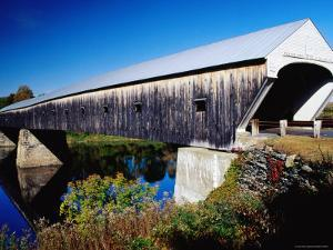 Cornish Covered Bridge over River by Emily Riddell