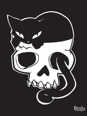 Cat On Skull by Emily the Strange