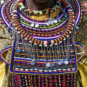 Africa, Kenya, Masai Mara National Reserve. Masai tribal jewelry and ornamentation. by Emily Wilson