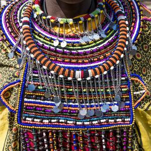 Africa, Kenya, Masai Mara National Reserve. Masai tribal jewelry and ornamentation. by Emily Wilson