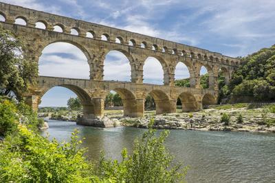 France, Nimes, the Pont Du Gard Is an Ancient Roman Aqueduct Bridge That Crosses the Gardon River